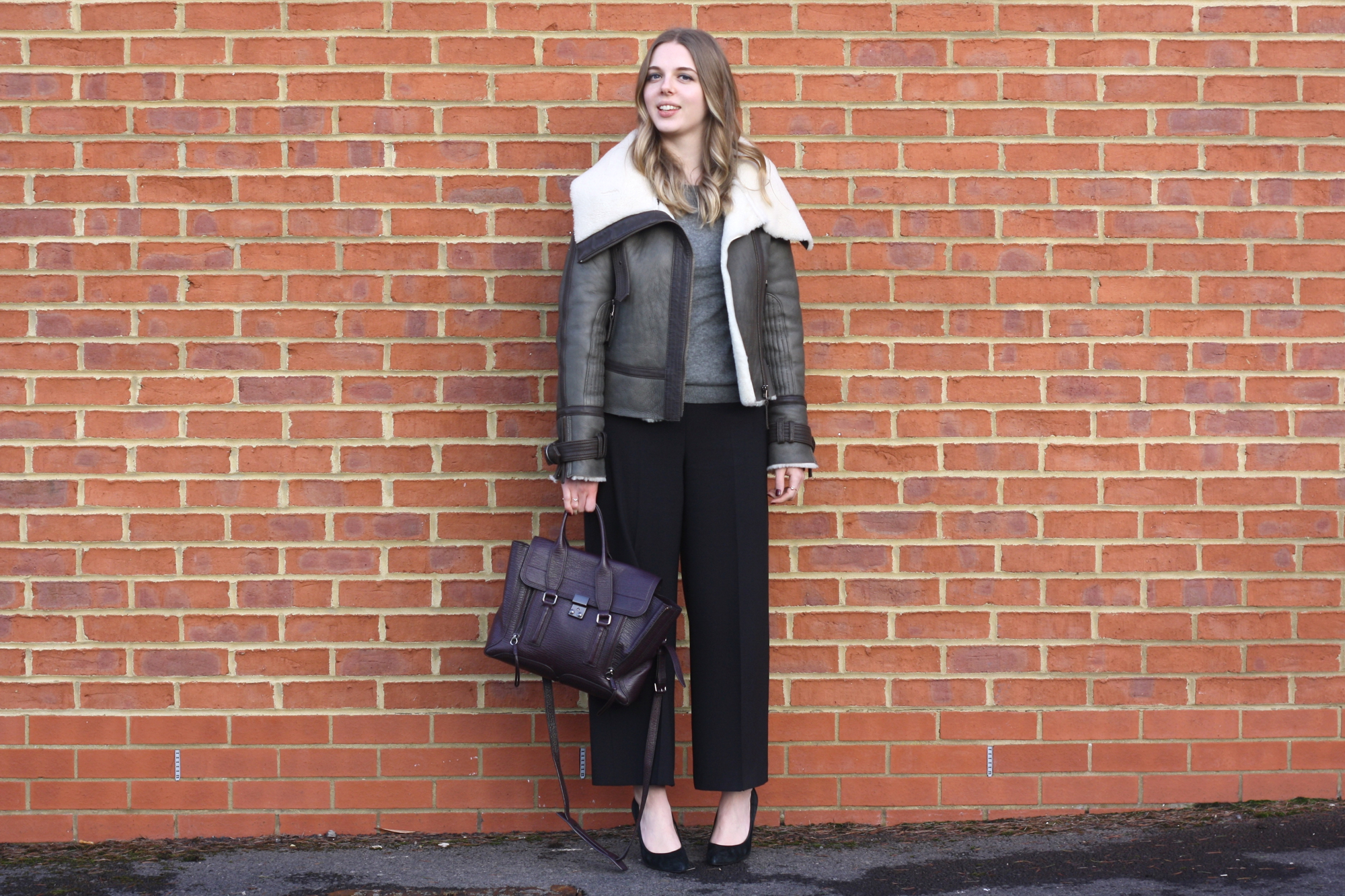 Topshop khaki aviator jacket, Zara black culottes and 3.1 Phillip Lim Pashli bag