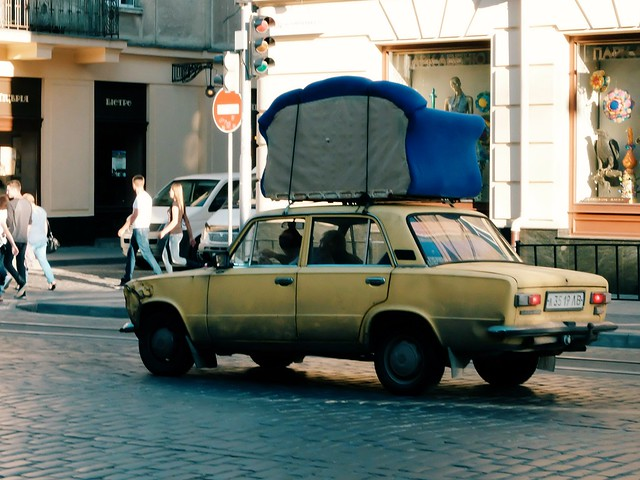 Ukrainian coloured car in Lviv