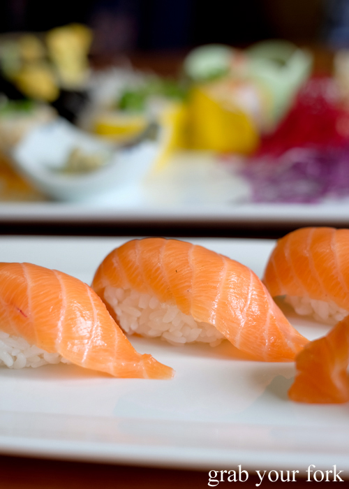 Salmon nigiri sushi at Masaaki's Sushi in Geeveston, Tasmania