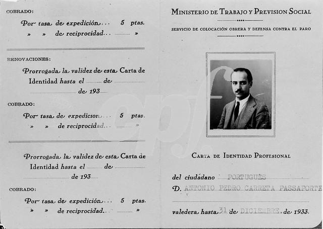 Carnet de Trabajo de Antonio Passaporte