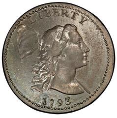 1793 Liberty Cap half cent obverse