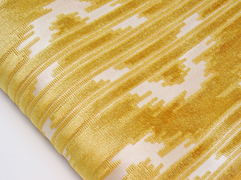 Vintage Yellow Cut Velvet Upholstery Fabric Love The Wavy Flickr