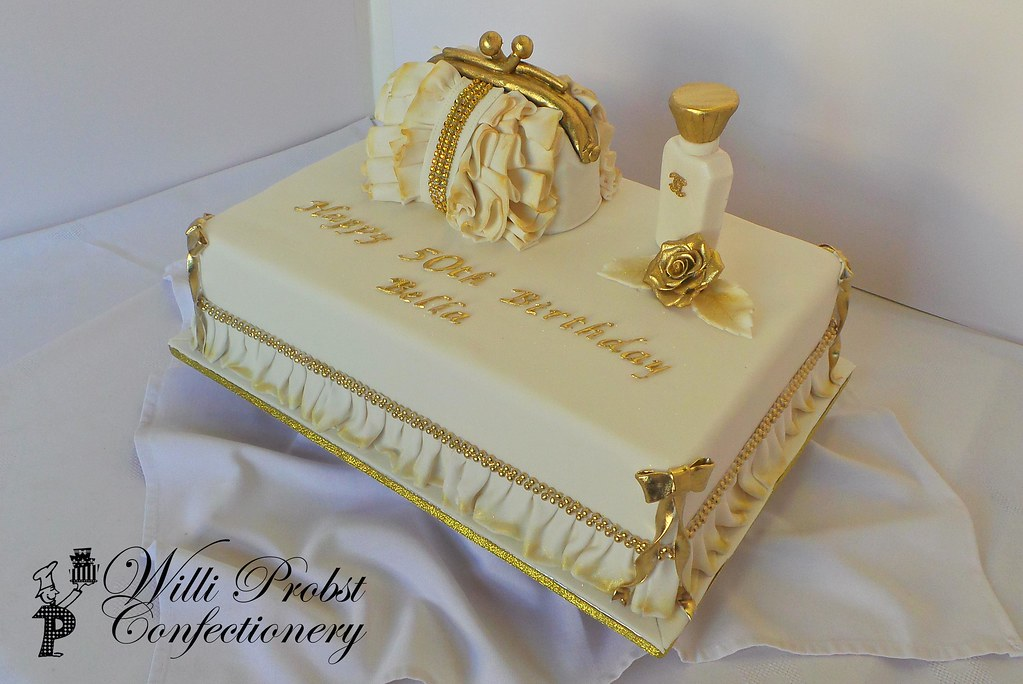 50th Handbag And Perfume Bottle Themed Birthday Cake Flickr