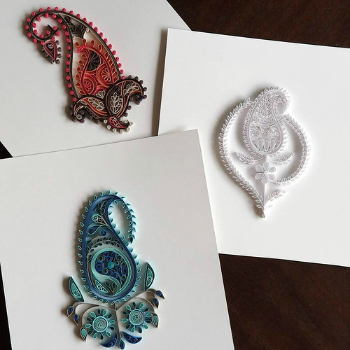 Lakhnau 1, 2, 3 - Quilled Paisley Series by TealCup