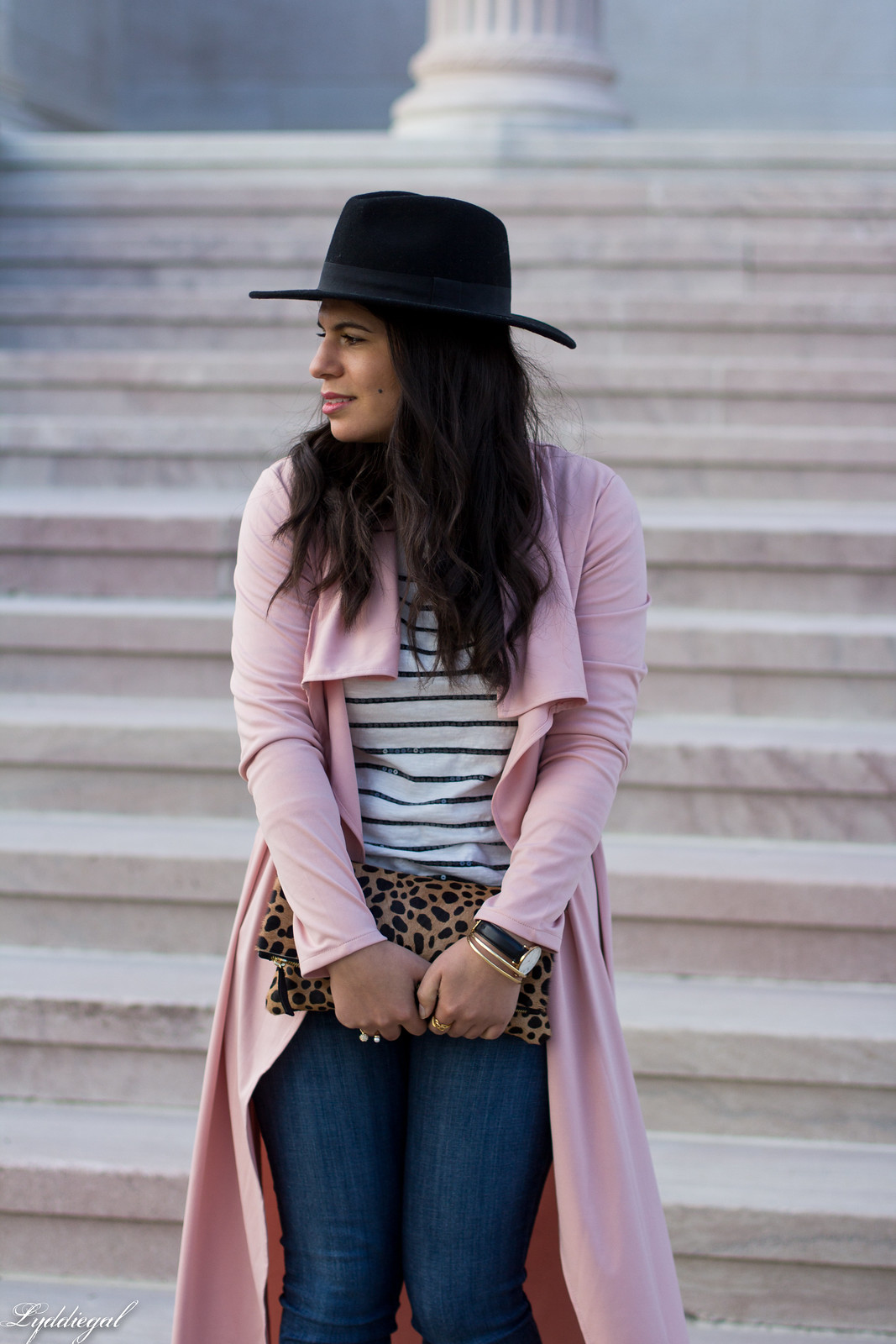 blush draped trench coat, striped tee, leopard clutch-7.jpg
