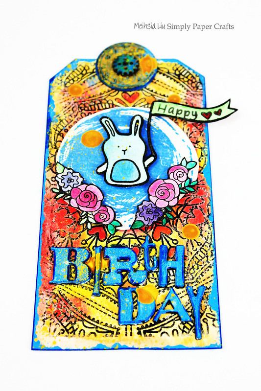 Meihsia Liu Simply Paper Crafts Mixed Media Tag Birthday Rabbit Simon Says Stamp Tim Holtz