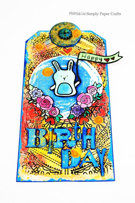Meihsia Liu Simply Paper Crafts Mixed Media Tag Birthday Rabbit Simon Says Stamp Tim Holtz