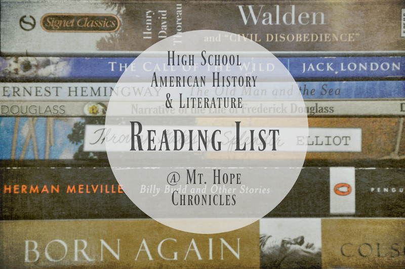 High School American History & Literature Reading List @ Mt. Hope Chronicles