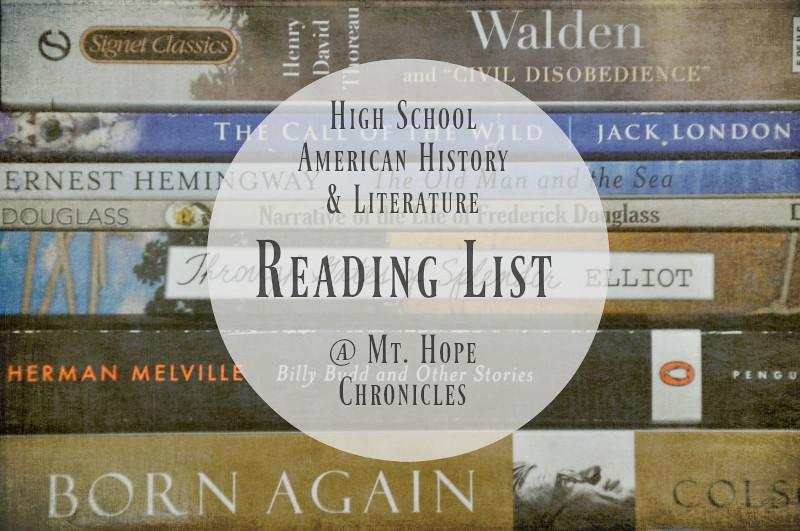 High School American History & Literature Reading List @ Mt. Hope Chronicles