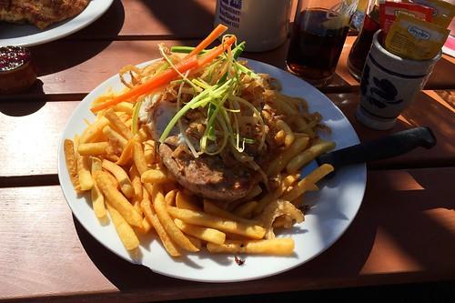 Pork steak with fried egg, herb butter & french fries / Holzfällersteak vom Schwein mit Spiegelei, Kräuterbutter & Pommes Frites - Gasthof Butz - Dornach