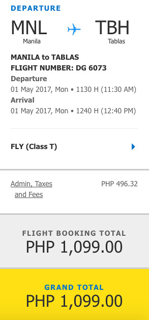 Manila to Tablas Promo May 1, 2017