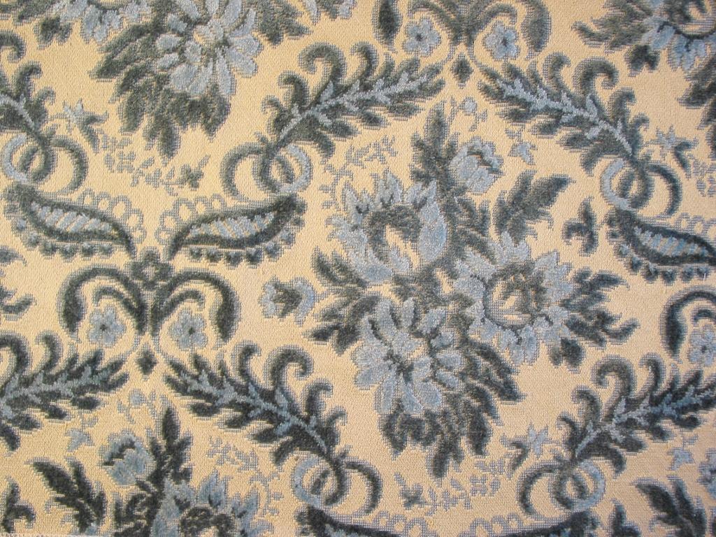 Vintage Blue Cut Velvet Upholstery Fabric Niesz Vintage Fabric
