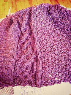 Almost through with second repeat of body chart on Blackberry Cabled Cardigan. | by BlueDragon2