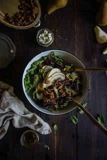 fall salad with pear, gorgonzola, and cinnamon-glazed walnuts | by Two Red Bowls
