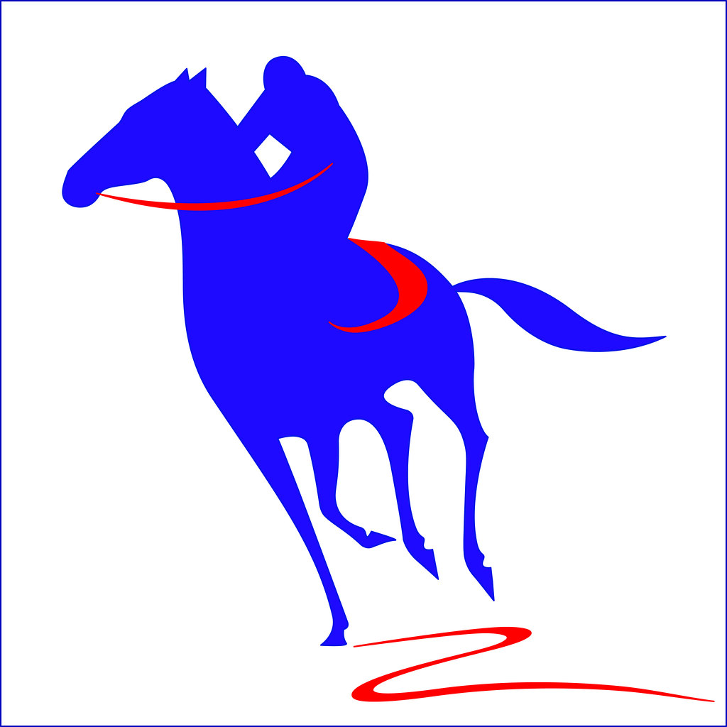 Two Tone Silhouette Vector Jockey On A Galloping Horse