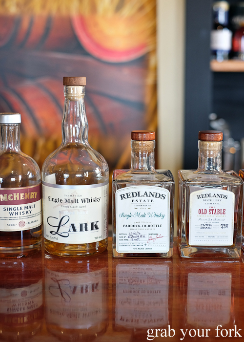 Single malt whiskies at Bruny Island House of Whisky on Bruny Island in Tasmania