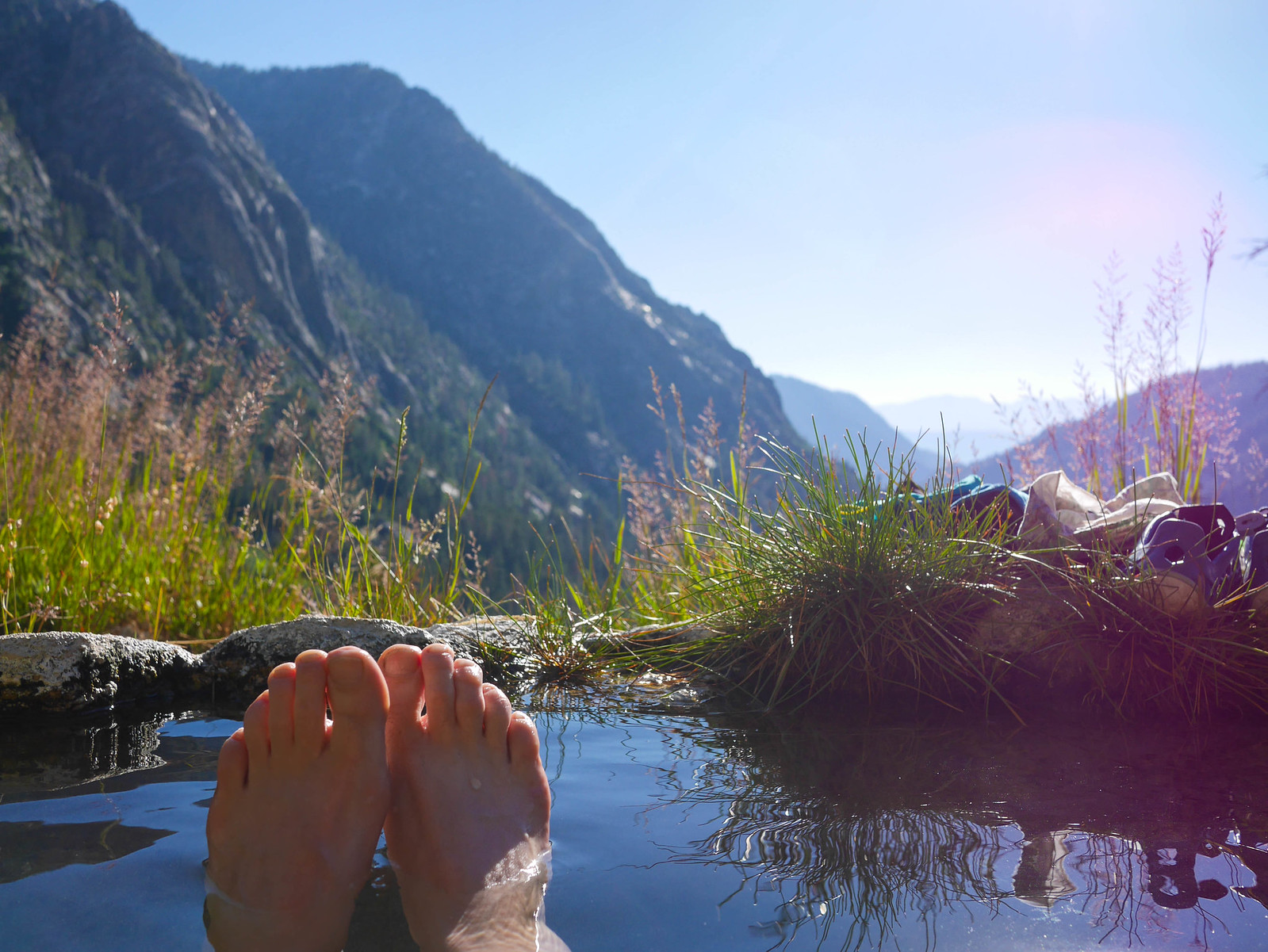 Afternoon soak at Iva Bell Hot Springs