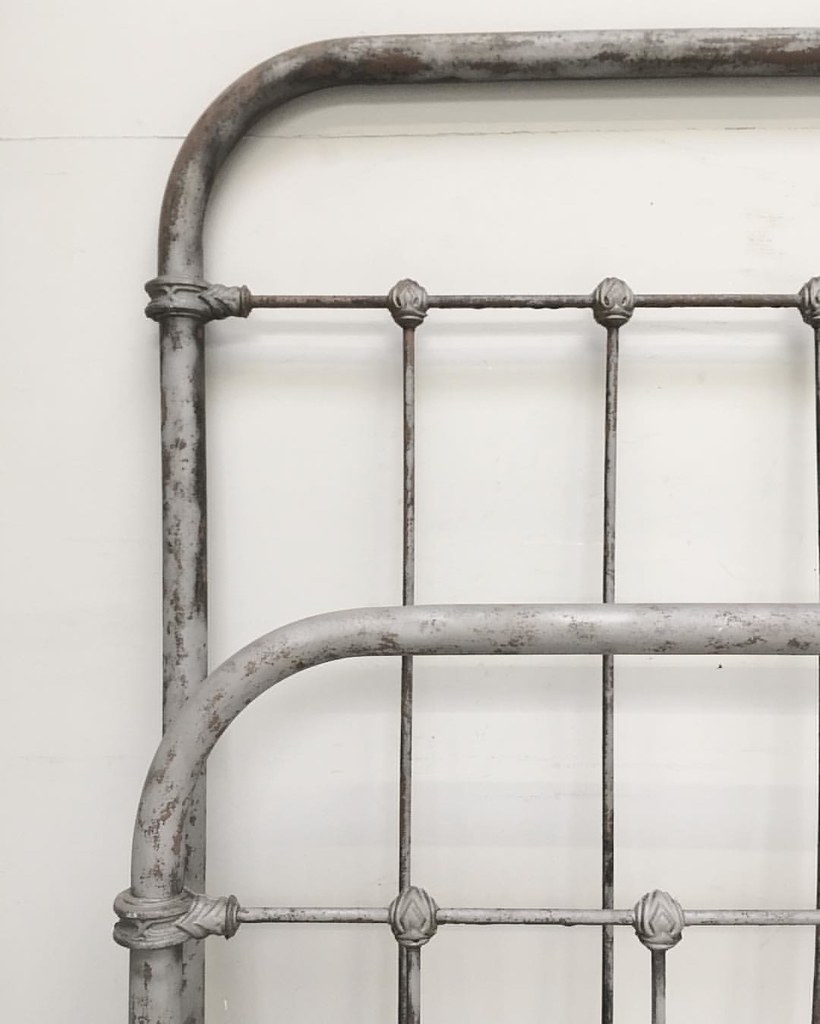 Antique french iron bed -  Stripped Old French Iron Bed Lovely Art Deco 1920s Style Castings Antique