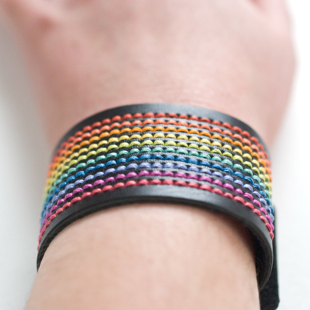 Rainbow-Stitched DMC Cuff Bracelet