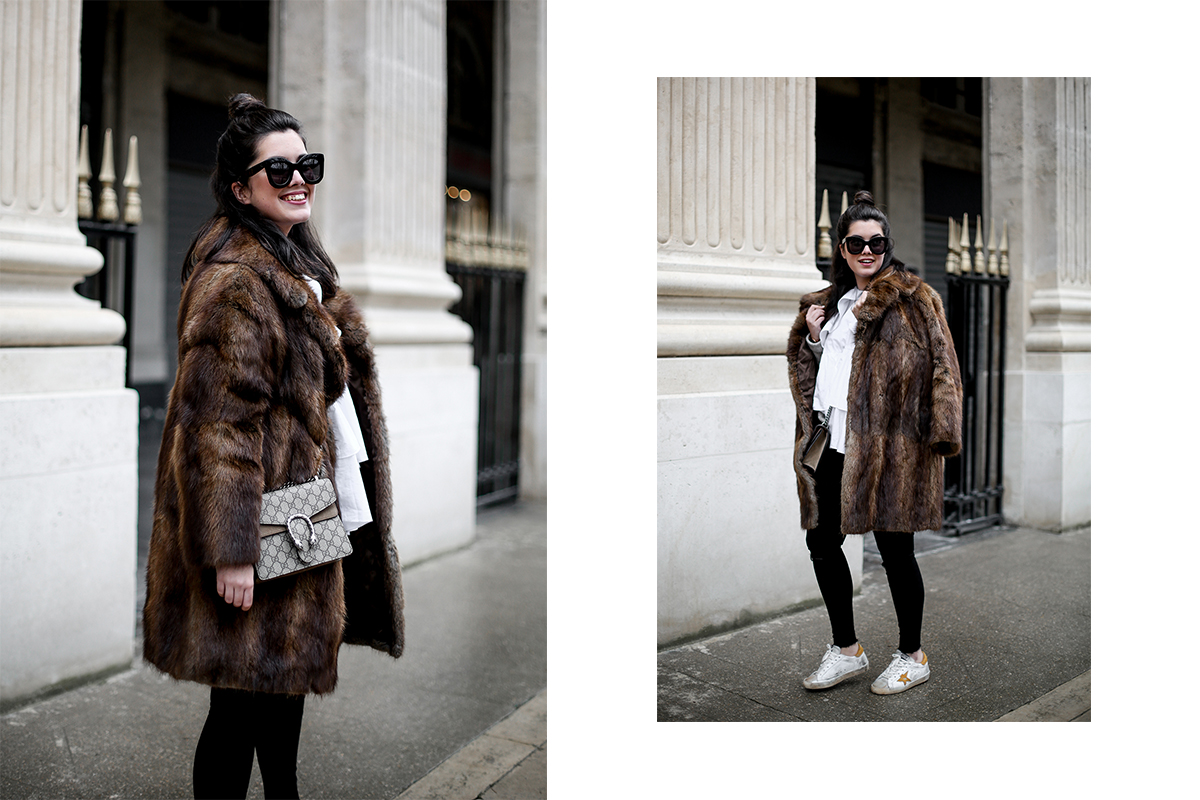 golden goose deluxe brand sneakers fur coat vintage streetstyle paris 2017-7