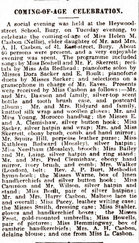 Bury Times 24Oct1908 Nellie Casbon coming of age