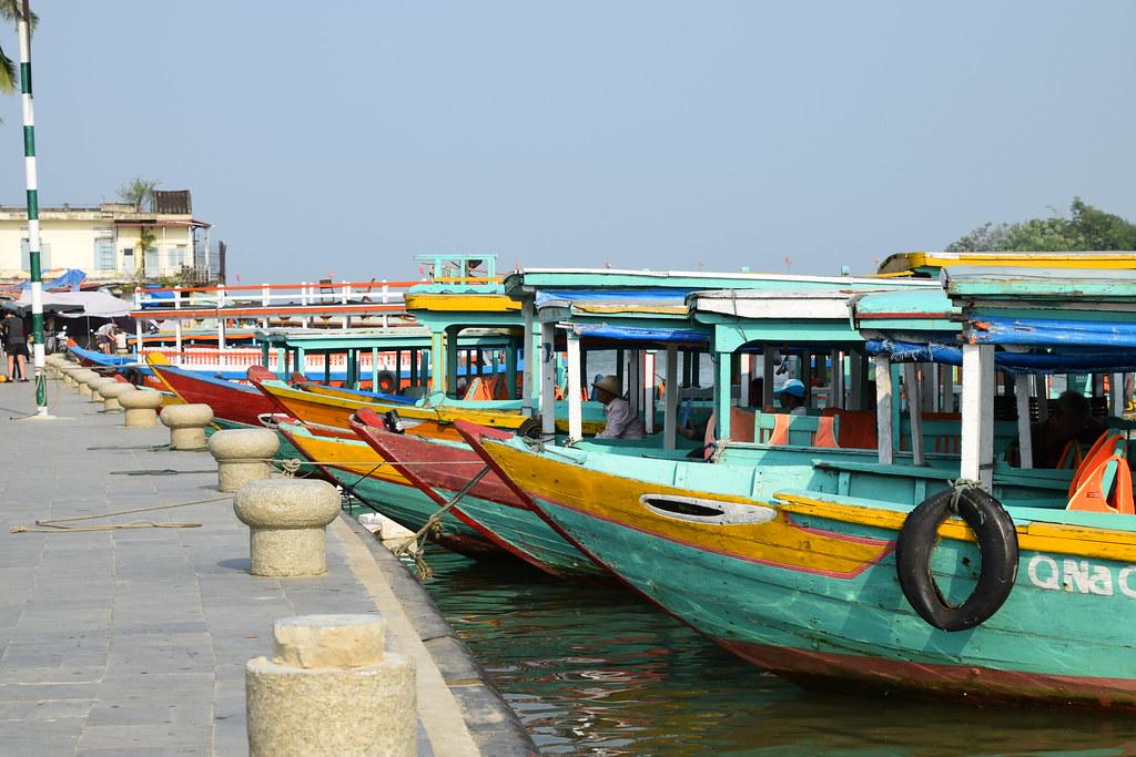 Tour boats mooered up, Hoi An, Vietnam