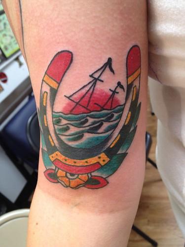 Sinking ship horseshoe traditional tattoo by keelhauled mi for Sinking ship tattoo