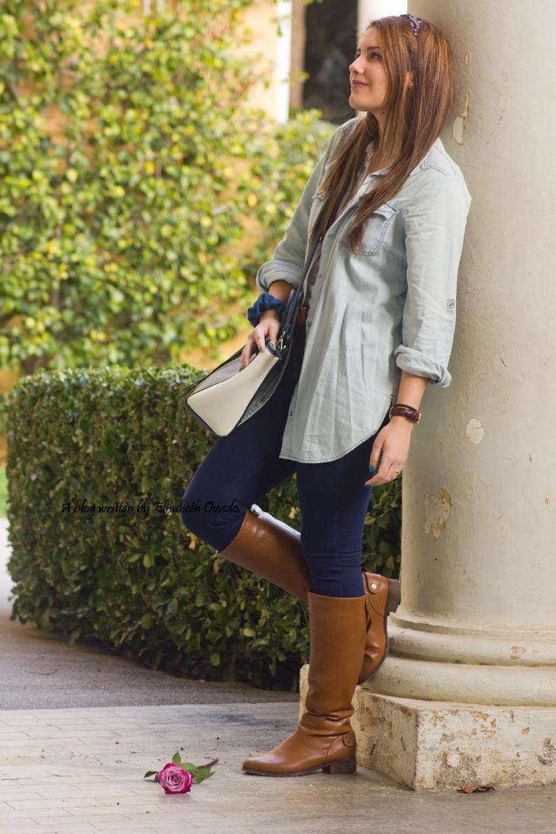 jeans look primavera heelsandroses botas marrones bolso grande (2)