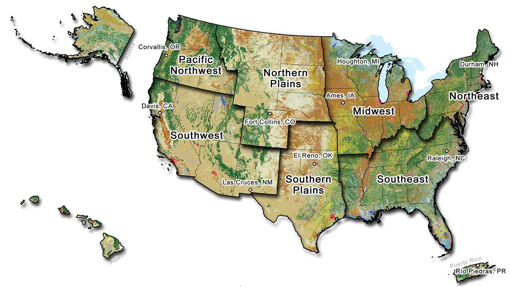 Map of the United States showing the Climate hub regions a  Flickr