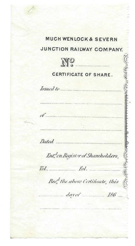 Much Wenlock & Severn Junction Railway Blank share certifi… | Flickr