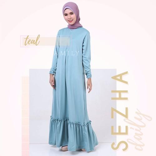 Gamis amily sezha daily dress teal baju gamis wanita bus Baju gamis yg lg ngetren