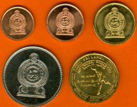 Srí Lanka 25-50 Cents + 1-2-5 Rupees 2005-2008 UNC