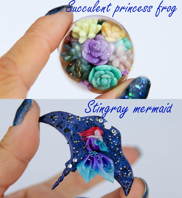 Succulent frog n Stingray brooches