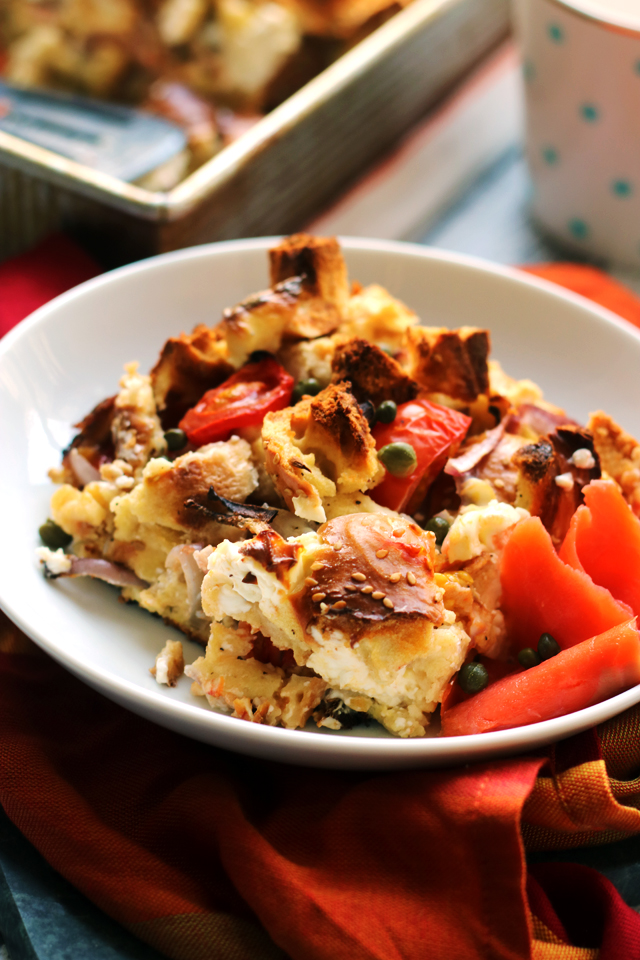 New York-Style Bagel, Egg, and Cream Cheese Breakfast Casserole
