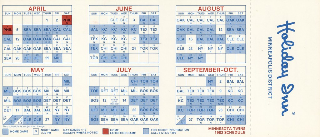Holiday Inn 1982 Minnesota Twins Schedule - Minneapolis, Minnesota