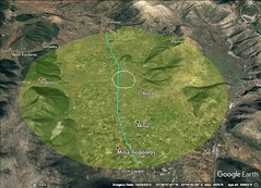 Mantinea, Greece 5 kilometer diameter. 5K in blue, 4K in white