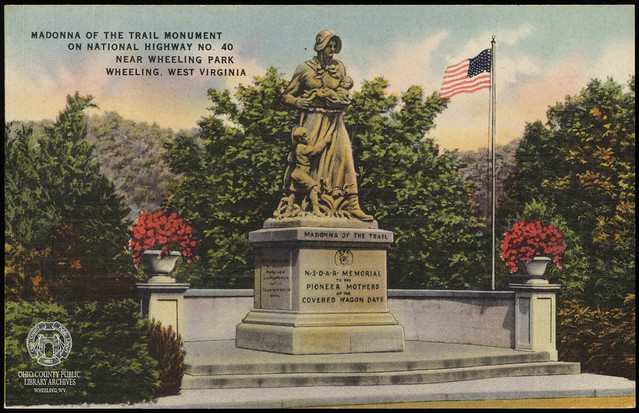 Postcard: Madonna of the Trail Monument, Wheeling