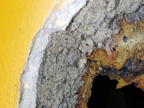 Hairy 2 Layer Wall Plaster System Asbestos Close Up