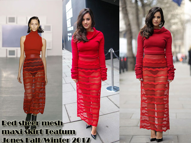 Red-sheer-mesh-maxi-skirt-Teatum-Jones-Fall-Winter-2017,Teatum Jones Fall/Winter 2017 show, Teatum Jones Fall/Winter 2017 show red mesh maxi skirt, red mesh maxi skirt, semi-sheer skirt, red semi-sheer skirt, red cow-neck figure hugging red knit, cow-neck knit, cow-neck sweater, cow-neck jumper, ankle length mesh skirt, Red mesh maxi skirt, spring/ summer 2017 collection,  sheer red mesh skirt, roll neck jumper, red roll neck jumper,   how to dress for a fashion week, how to dress for a London fashion week, red monochrome outfit, Red sheer mesh maxi skirt Teatum Jones Fall/Winter 2017