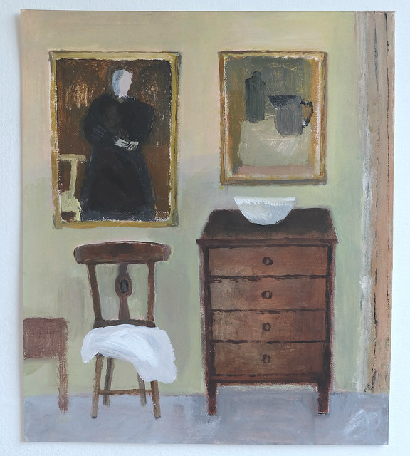interior with chest of drawers and portrait