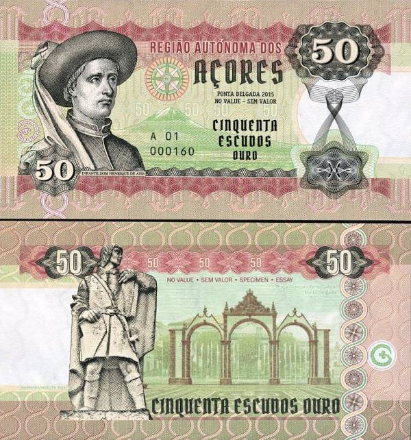 AZORES (Azory) 50 Escudos 2015 UNC, Essay