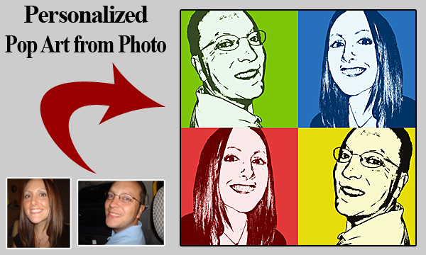 Modern gift for brother turning 50th - Pop Art Portraits from sister-brother photos