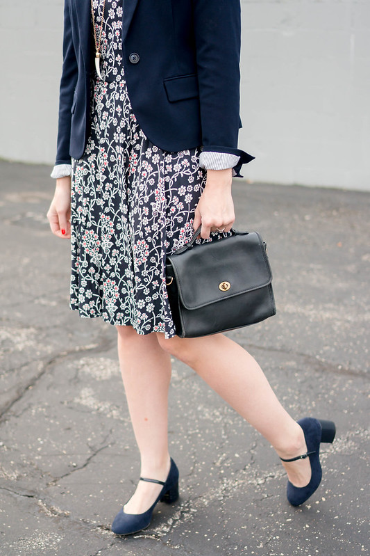 loft floral print dress + navy Target blazer + navy coach purse + navy block heels; spring work outfit | Style On Target blog