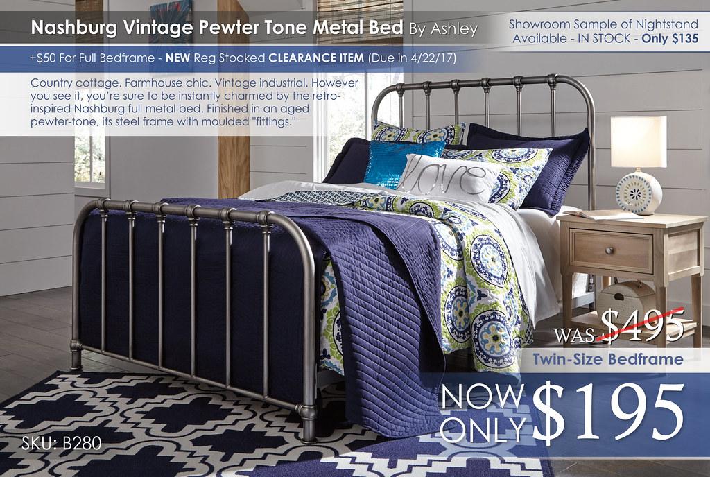 Nashburg Vintage Pewter Metal Bed B280-572-Q229-B512-91
