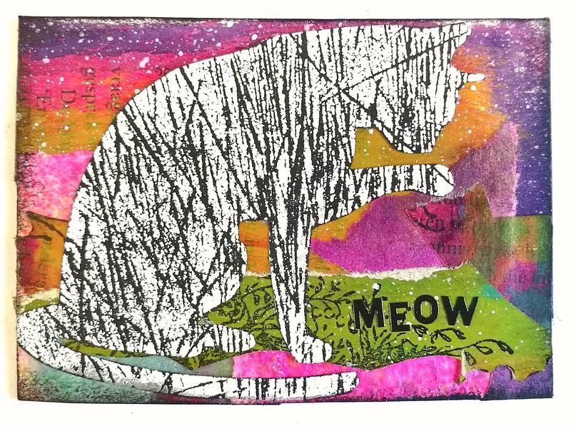 collaged cat ATC