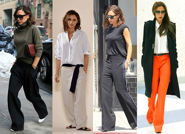Victoria-Beckham-wearing-black-wide-leg-trousers-orange-wide-leg-pants