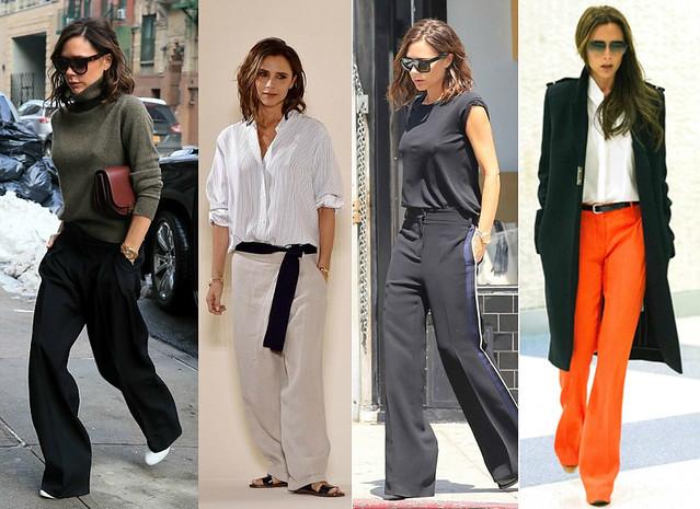 Victoria-Beckham-wearing-black-wide-leg-trousers-orange-wide-leg-pants