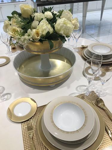 white and gold china,  Rustan's