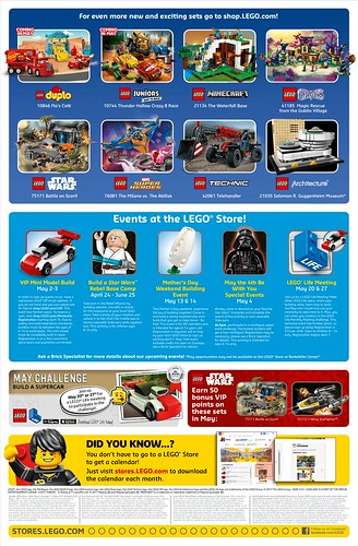 May 2017 LEGO Store Calendar