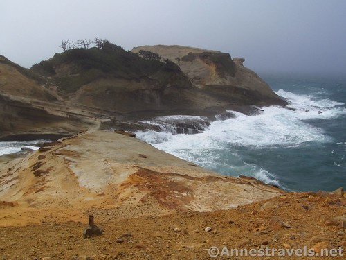 The remains of the old viewpoint at Cape Kiwanda, Oregon